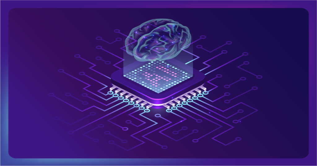 AI chip depicting how it can think and work like a brain.